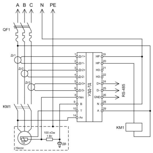 Схема подключения устройства в